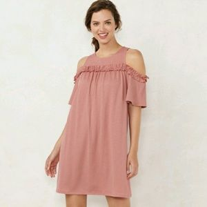 Lauren Conrad blush cold shoulder dress